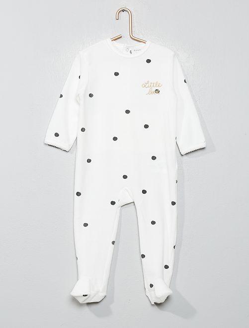 Pyjama velours                                                                             blanc Bébé fille