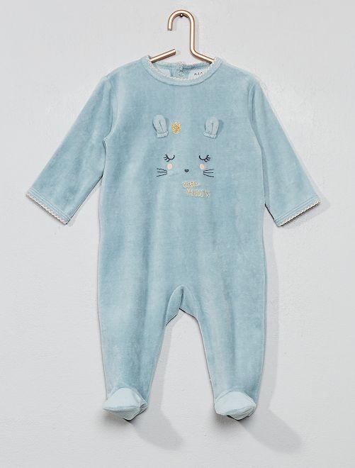 Pyjama velours                                                                             bleu Bébé fille