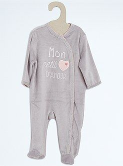 Fille 0-24 mois Pyjama velours broderie animal