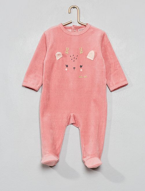 Pyjama velours                                 rose/cerf