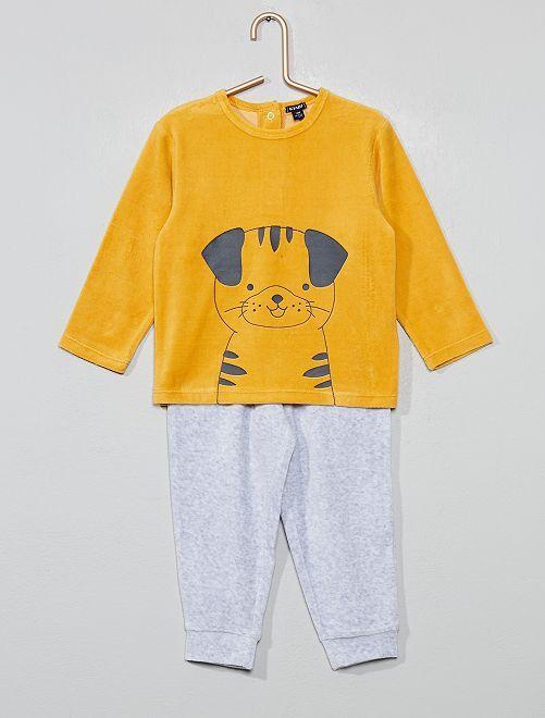 Pyjama velours 'chien'                                                     jaune/gris Bébé garçon
