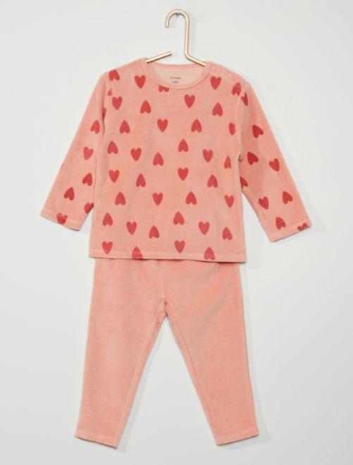 Pyjama velours 'cœurs'                                                                                         rose