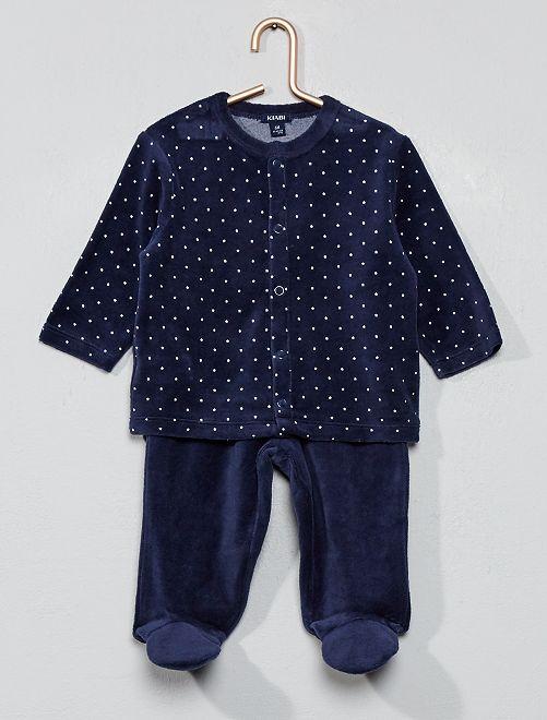 Pyjama velours coton bio                                                                                         bleu marine Bébé garçon