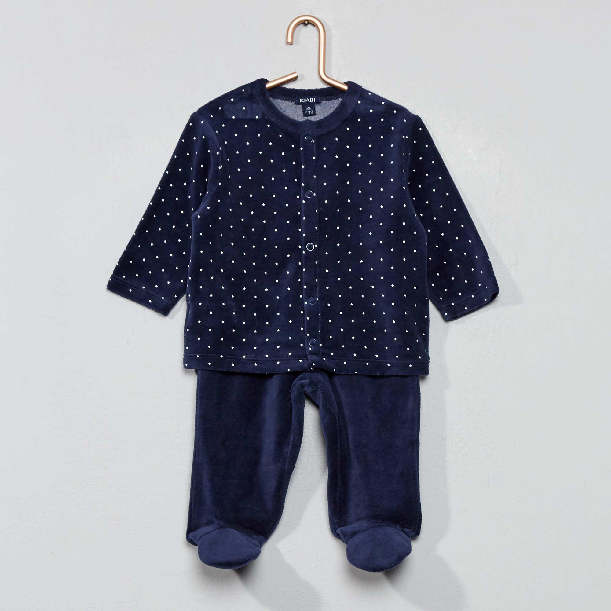 c281435f62d6c Pyjama velours coton bio Bébé garçon - bleu marine - Kiabi - 9