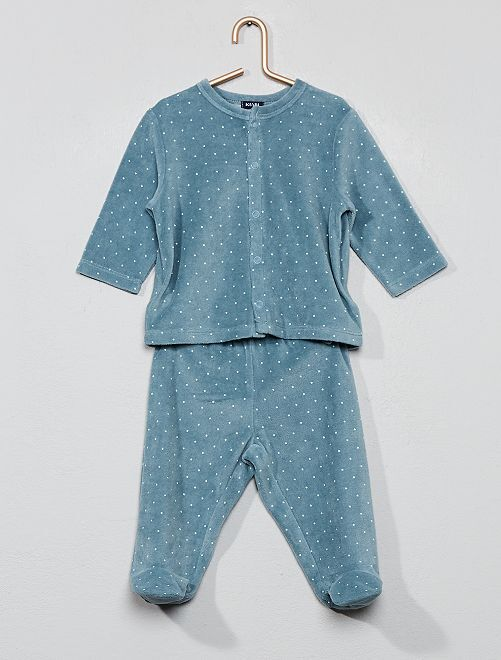 Pyjama velours coton bio                                                                                         bleu vert Bébé fille