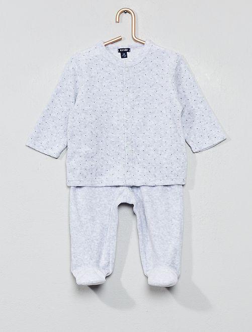 Pyjama velours coton bio                                                                                         gris clair Bébé garçon