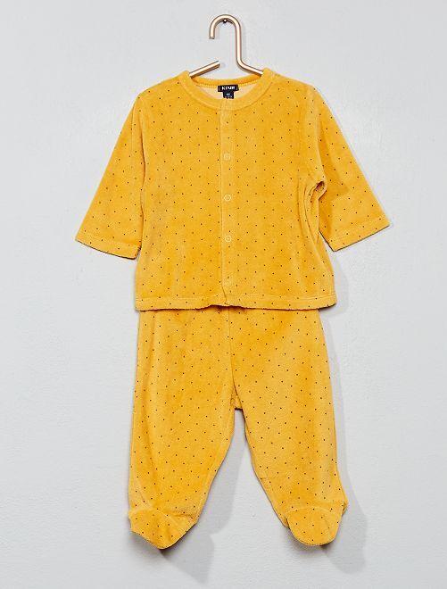 Pyjama velours coton bio                                                                                         jaune Bébé fille