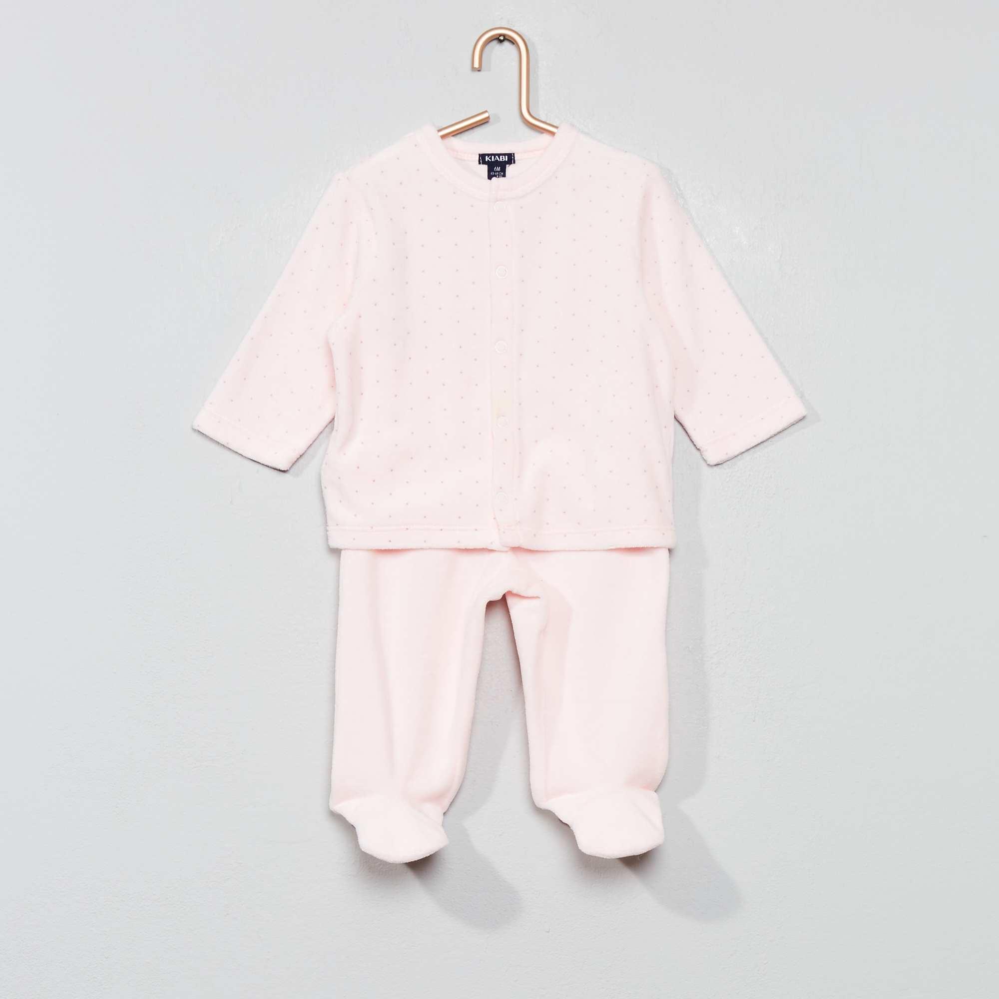 352ee15f66a4a Pyjama velours coton bio Bébé fille - rose pâle - Kiabi - 9
