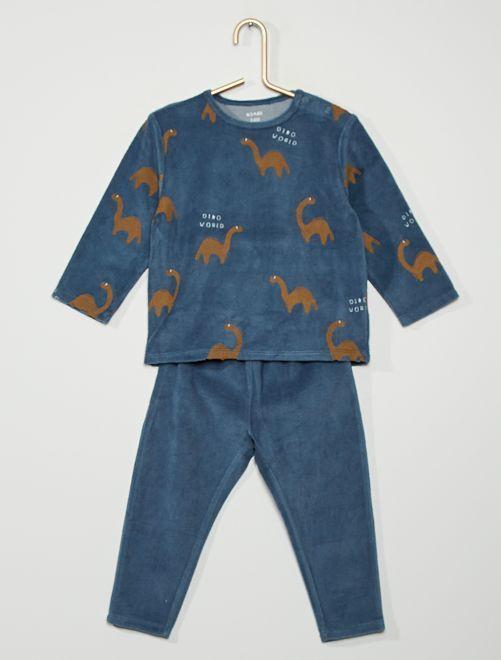 Pyjama velours 'dinosaures'                                                                                         bleu