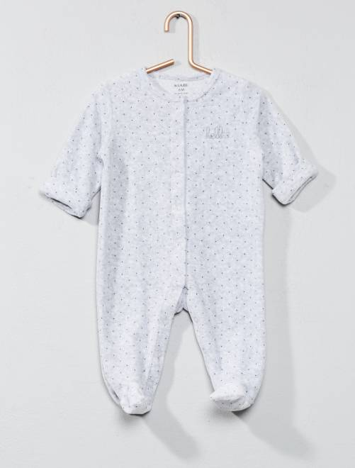 Pyjama velours 'éco-conception'                                                                                                     gris