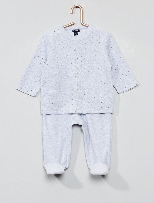 Pyjama velours 'éco-conception'                     gris clair
