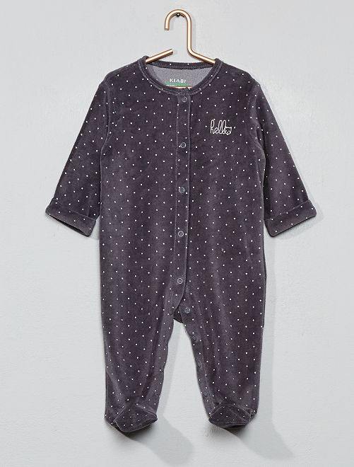 Pyjama velours 'éco-conception'                                                                                                     gris foncé