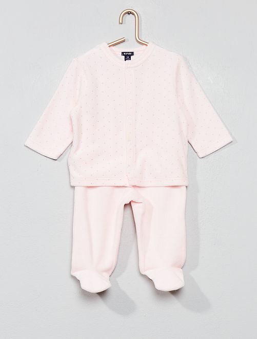 Pyjama velours 'éco-conception'                                                                                         rose pâle Bébé fille