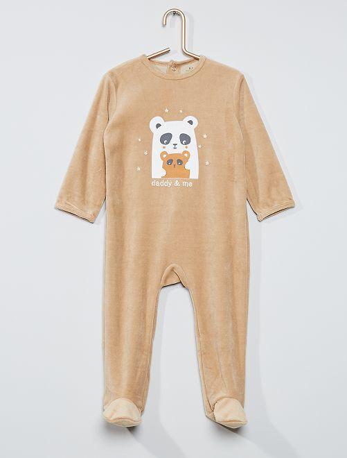 Pyjama velours éco-conçu                                                                                                                                                                                                                                                                                         beige panda