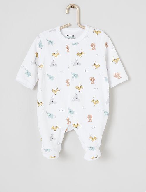 Pyjama velours éco-conçu                     blanc jungle