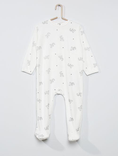 Pyjama velours éco-conçu                                                                                                                                                                                                                             blanc koala