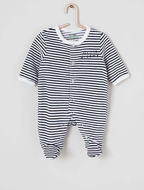 Pyjama velours éco-conçu                                                                                                                 blanc rayé