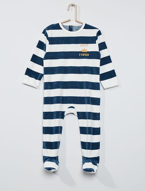 Pyjama velours éco-conçu                                                                                                                                                                                                                                                                             blanc/bleu rayé