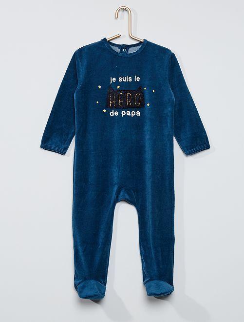 Pyjama velours éco-conçu                                                                                                                                                                                                                                                                                         bleu nuit héros