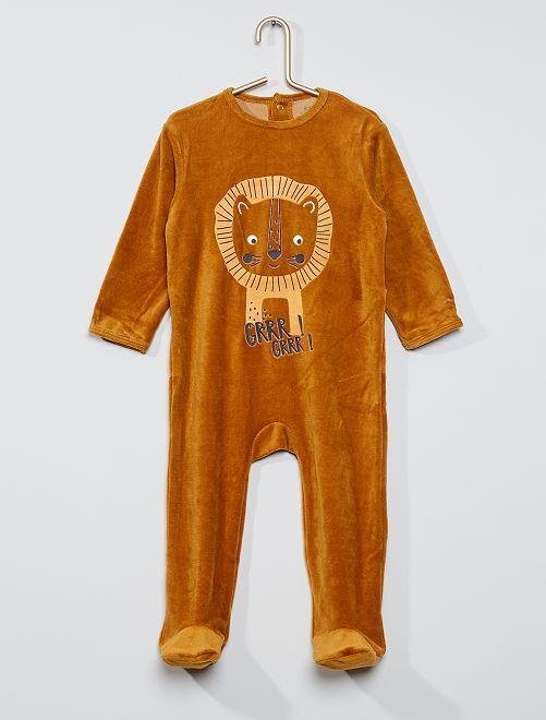 Pyjama velours éco-conçu                                                                                                                                                                                                                                                                                         camel lion