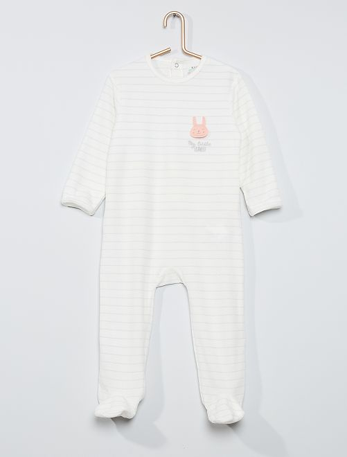 Pyjama velours éco-conçu                                                                                                                                                                                                                                                     écru rayé lapin