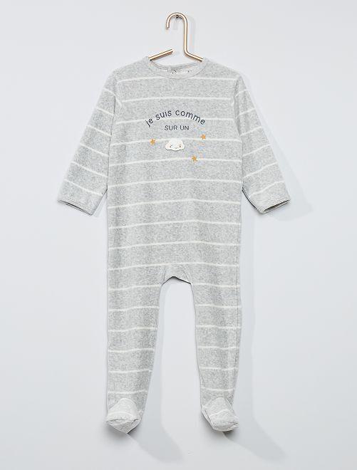 Pyjama velours éco-conçu                                                                                                                                                                                                                                                                                         gris chiné rayé