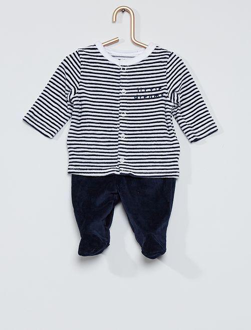 Pyjama velours éco-conçu                                                     marine rayé