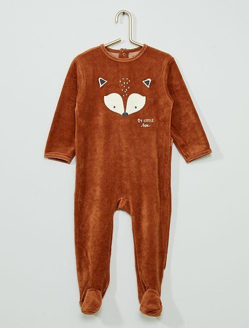 Pyjama velours éco-conçu                                                                                                                                                                                                                                                                                         MARRON