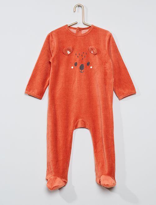 Pyjama velours éco-conçu                                                                                                                                                                                                                                                                                         orange koala
