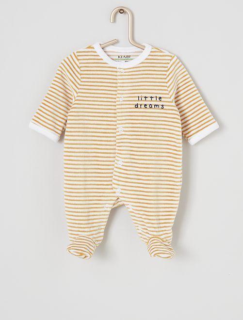 Pyjama velours éco-conçu                                                                                                                 rayé jaune