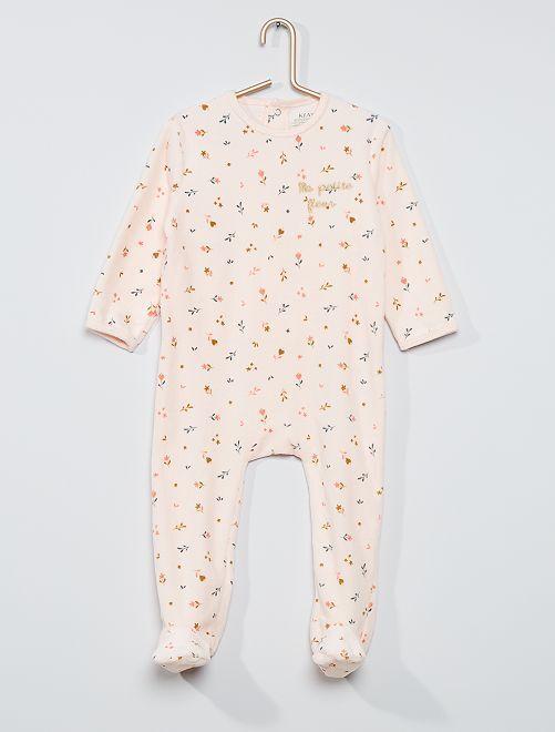 Pyjama velours éco-conçu                                                                                                                                                                                                                                                                                         rose fleurs