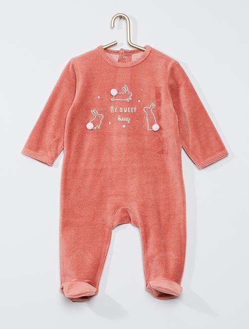 Pyjama velours éco-conçu                                                                                                                                                                                                                                                                                         rose lapin
