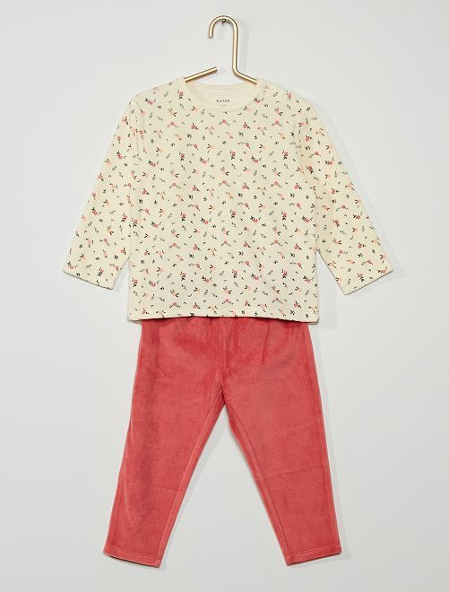 Pyjama velours 'fleurs'                                                                                         beige