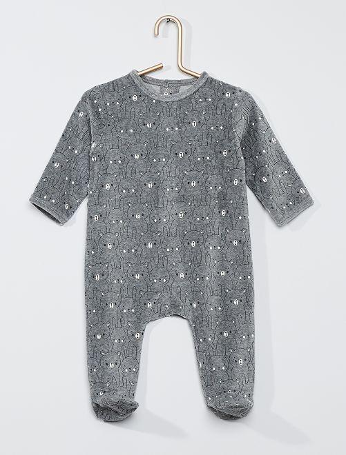 Pyjama velours                                                                                                                                                                                                                                                                 gris