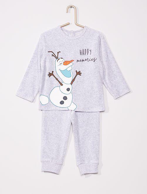 Pyjama velours la 'Reine des Neiges'                                         gris