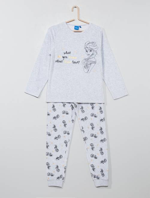 Pyjama velours 'La Reine des neiges'                             gris Fille