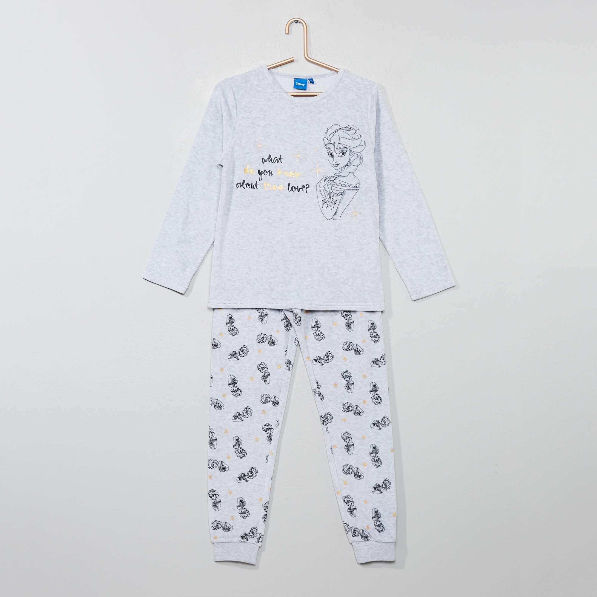 956b7b55ba762 Pyjama velours  La Reine des neiges  Fille - gris - Kiabi - 13