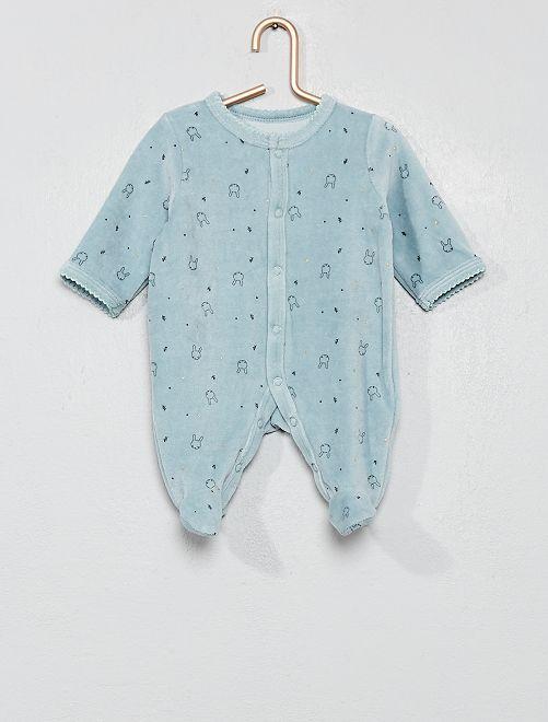 Pyjama velours 'lapin'                                                                 bleu Bébé fille