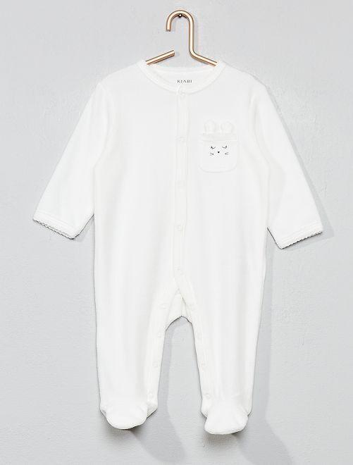 Pyjama velours 'lapin'                                                                 écru