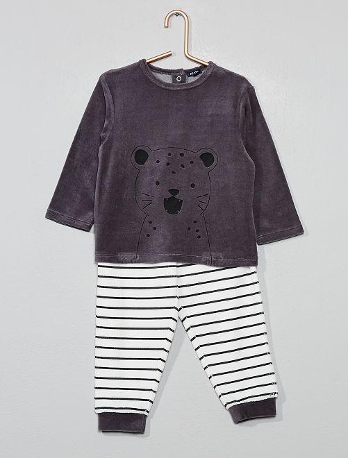Pyjama velours 'léopard'                                                                 gris/écru rayé