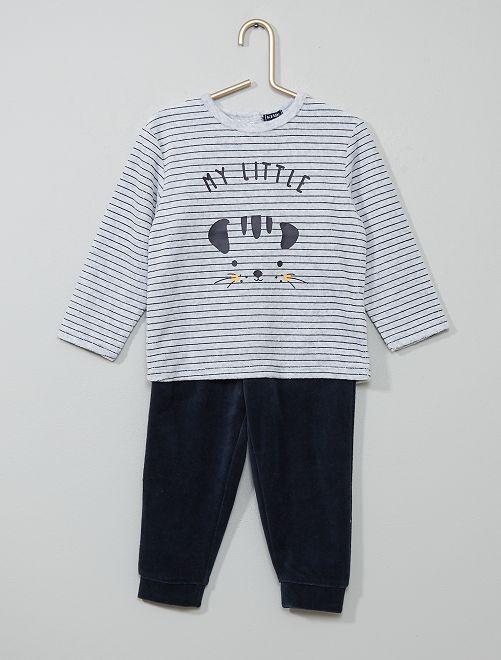 Pyjama velours 'ours'                                                                 gris rayé/bleu marine