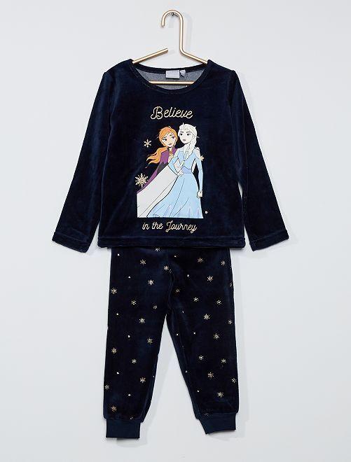 Pyjama velours 'Reine des Neiges'                             marine