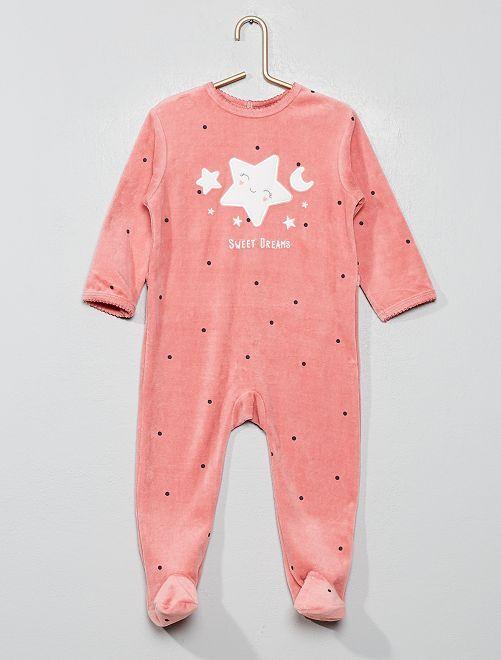 Pyjama velours                                                                             rose Bébé fille