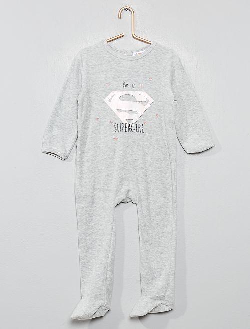 Pyjama velours 'Supergirl'                             gris