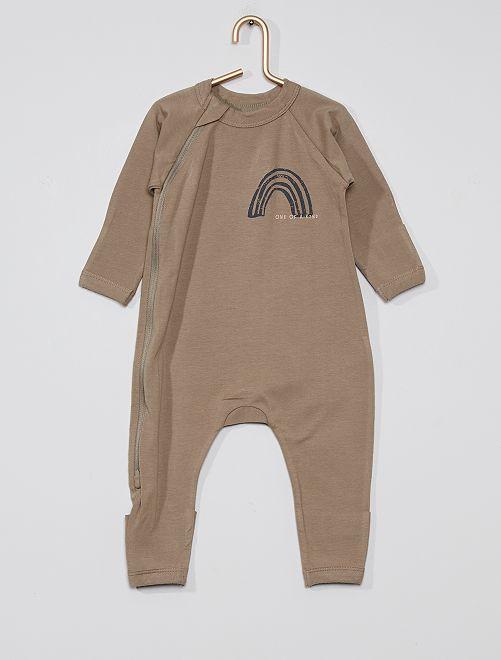 Pyjama zippé 'DIM'                             kaki clair