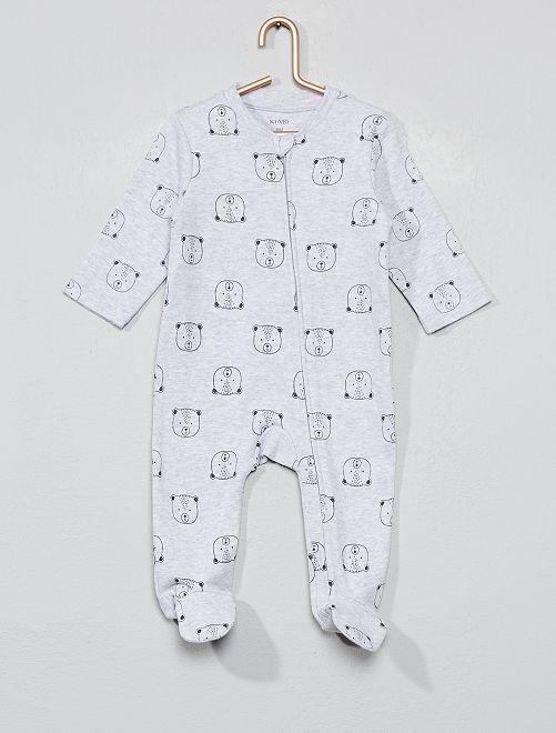 Pyjama zippé 'ourson'                                         gris Bébé garçon