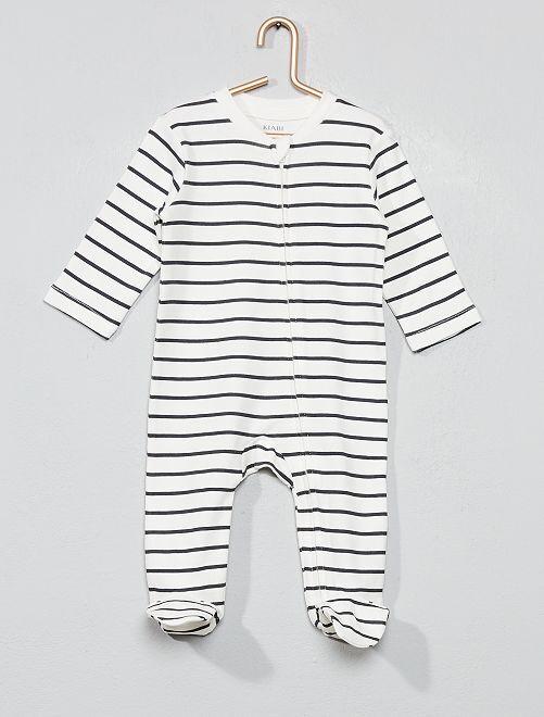 Pyjama zippé rayé                                         blanc Bébé garçon