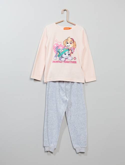 Pyjama'Pat Patrouille' en velours                             rose pastel Fille