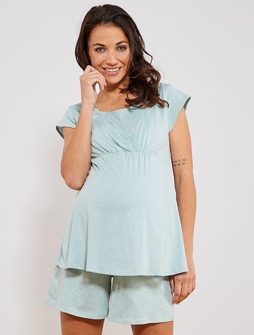 Pyjamas court de maternité en coton biologique                                         vert
