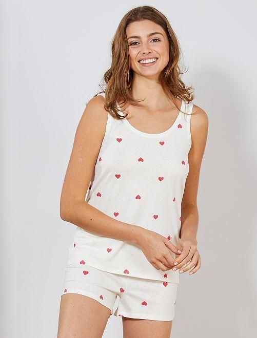 Pyjashort à motifs                                                                 blanc Lingerie du s au xxl